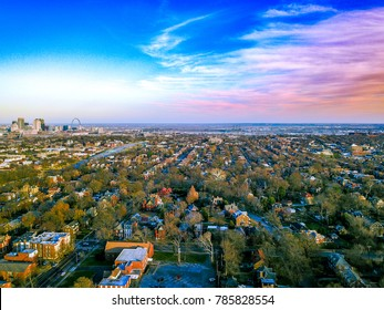 Sunset over the Soulard neighborhood in Saint Louis, Missouri