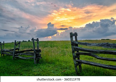 Sunset over split rail fence from the Cumberland Gap National Park
