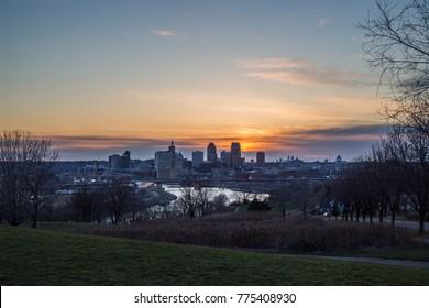 Sunset over St Paul Minnesota.