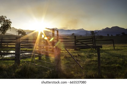 Sunset over the stables near Lake Maroon, Scenic Rim, Queensland, Australia