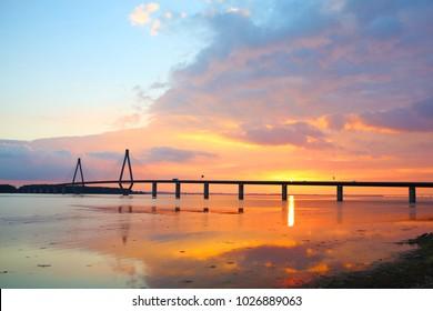 Sunset over the Storstroem, motorway bridge links Falster and Sealand, Denmark