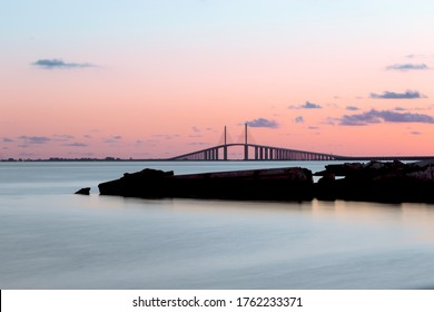 Sunset over the Sunshine Skyway Bridge
