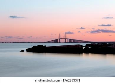 Sunset over the Sunshine Skyway Bridge