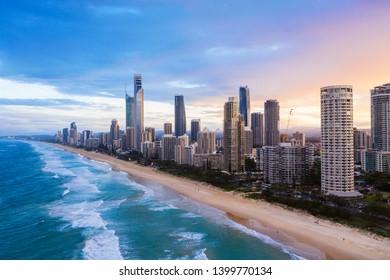 Sunset over Surfers Paradise on the Gold Coast, QLD, Australia