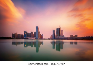sunset over Swan Lake financial business district, Hefei city, Anhui province, China