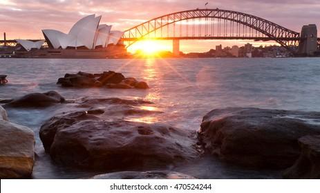 Sunset over Sydney, Australia Harbor