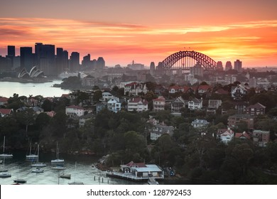 Sunset over Sydney harbour, taken from a unique position which is not available to anyone