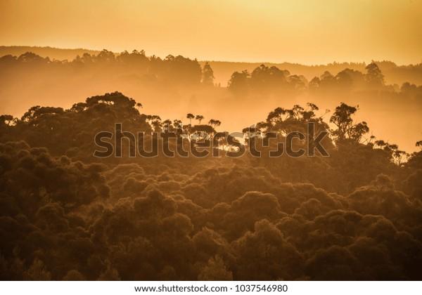 Sunset over Tasmaina's Huon Valley, north Cygnet.