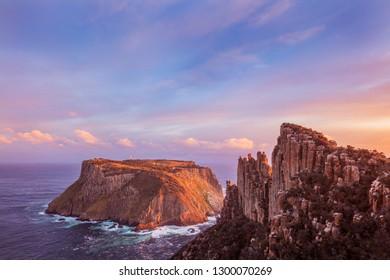 Sunset over Tasman Island and the Blade.Three Capes Walk,Tasmania.