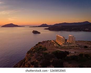 Sunset over the Temple of Poseidon at Cape Sounio, Greece.