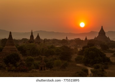 Sunset over the temples of the ancient city of Bagan in Myanmar (Burma).