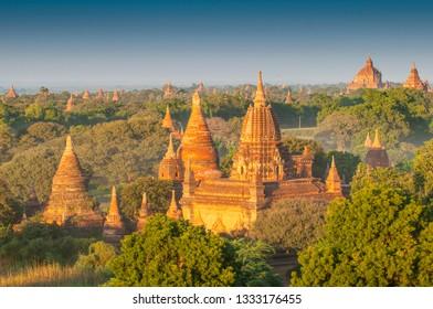 Sunset over the Temples of Bagan, Mandalay, Myanmar.