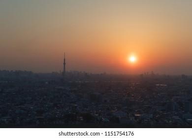 Sunset over Tokyo.