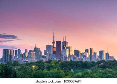 Sunset over Toronto city skyline in Ontario, Canada