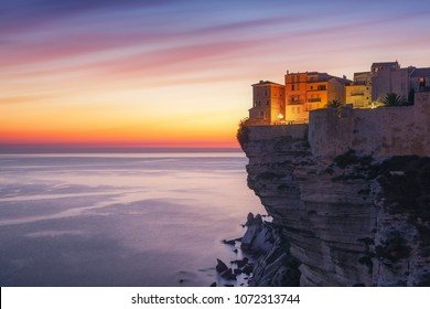 Sunset over the Town of Bonifacio, Corsica Island, France
