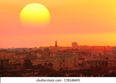 Sunset over the town.Old city of Tel Aviv.