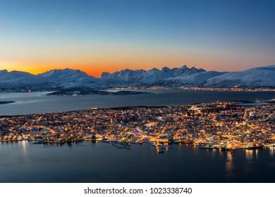 Sunset over Tromso seen from Floya hill