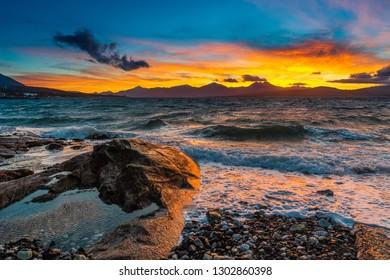 Sunset over Tromso.Norway.Coast of the Norwegian Sea.