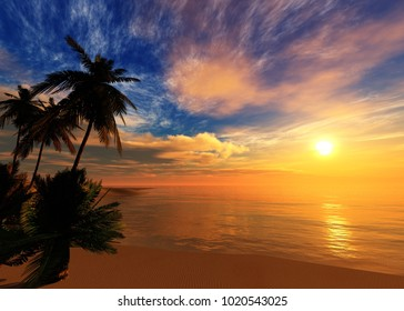 sunset over a tropical island, ocean sunset 3D rendering