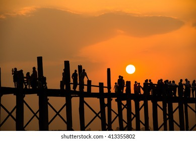 Sunset over U-Bein Bridge in Mandalay