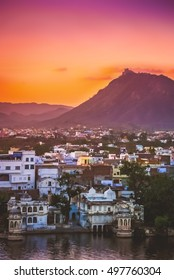 Sunset over Udaipur city â?? called the most romantic city in India or the Venice of India