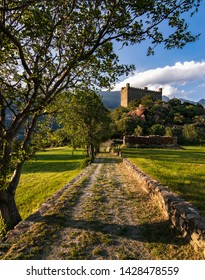 Sunset over Ussel's castle of Aosta Valley (Italy)