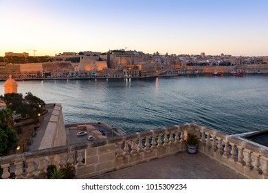 Sunset over Valletta and the Grand Harbour, Malta