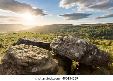 Sunset over the valley of Scugdale in the North York Moors National Park, North Yorkshire.