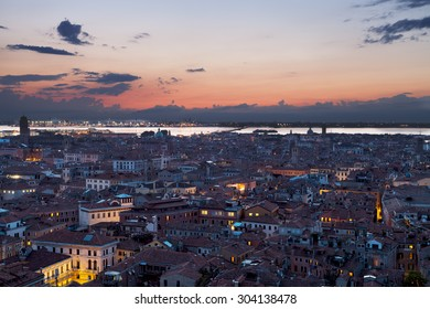 Sunset over Venice in Italy