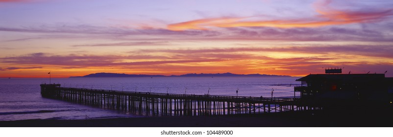 Sunset over Ventura Pier Channel Islands and Pacific Ocean, Ventura, California