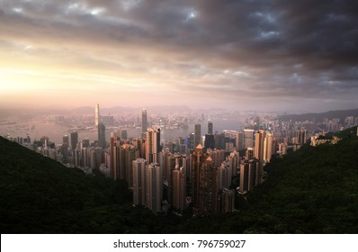 Sunset over Victoria Harbor from Victoria Peak in Hong Kong