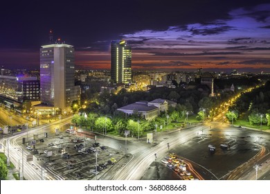 Sunset over Victoria Square. Center of Bucharest, Romania. Aerial view. Dramatic sky.