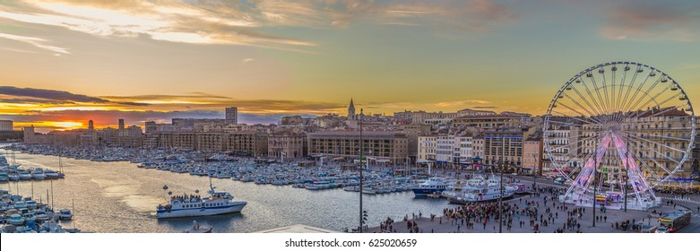 sunset over the Vieux-Port of Marseilles