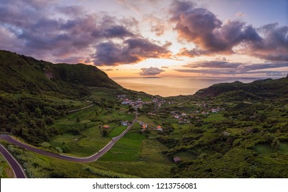 Sunset over Fajãzinha village on Flores island, Azores archipelago in Atlantic ocean, Portugal