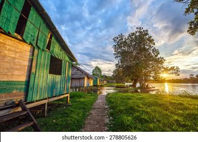 Sunset over the village of Santa Rita in the Amazon rainforest in Peru