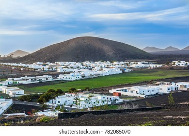 sunset over village of Yaiza in Lanzarote in morning light
