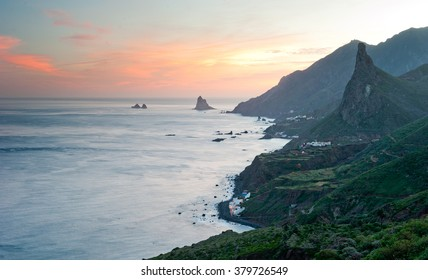 Sunset over villages on Canary Islands, Tenerife, Anaga mountains