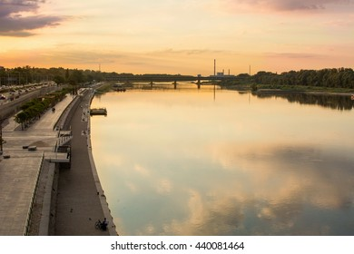 Sunset over Visla river in Warsaw, Poland