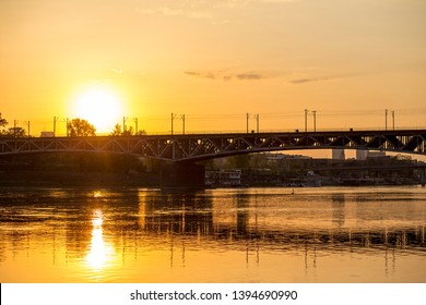 Sunset over Vistula river in Warsaw.