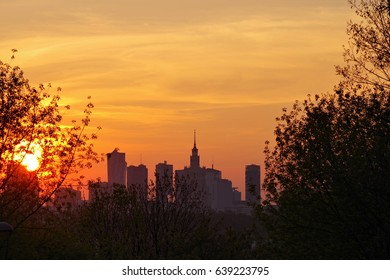 Sunset over Warsaw