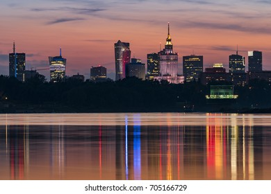 Sunset over Warsaw city and Vistula river, Poland