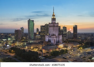 Sunset over Warsaw downtown district in summer time, Poland - Shutterstock ID 658075135