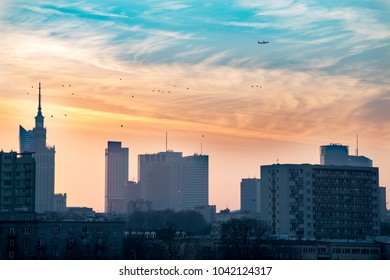 Sunset over Warsaw Poland skyline