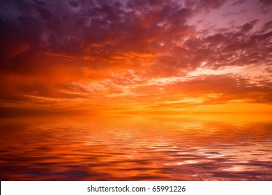 sunset over water - great for backgrounds