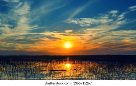 Sunset over waters of  lake okeechobee Florida