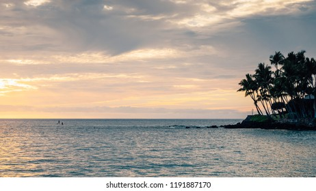 Sunset over the west coast of Hawaii, Big Island, Kona