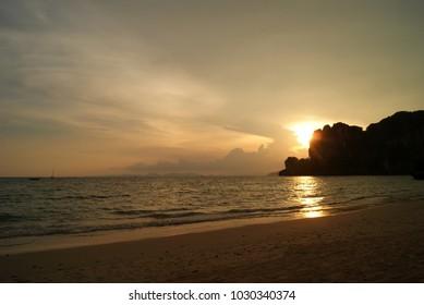 Sunset over West Railay Beach