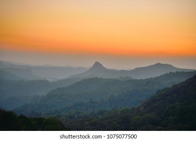 Sunset over western ghats in munnar.