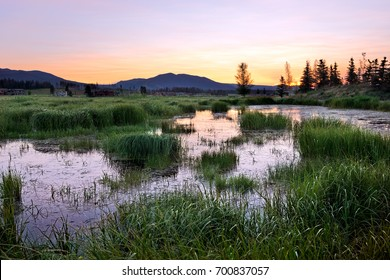 Sunset over wetland area, Fraser Valley, Colorado