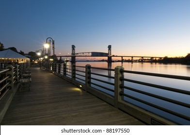 Sunset over Wilmington waterfront in North Carolina, USA.